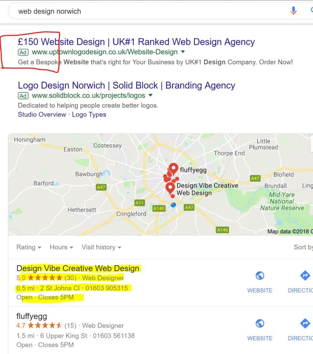 google ad results